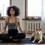 Dog with Woman Doing Yoga